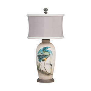 Handpainted Blue Heron One-Light Terra Cotta Lamp