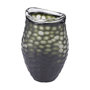 Gogli Green Wide Mouth Cut Glass Vase