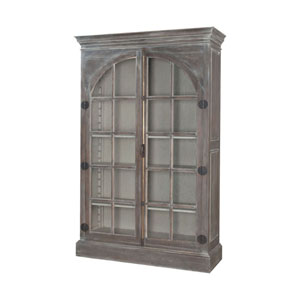 Manor Waterfront Grey Stain Arched Door Display Cabinet
