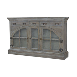 Farmhouse Waterfront Grey Stain China Credenza