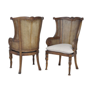 Caned New Signature Stain Wing Back Chairs- Set of 2