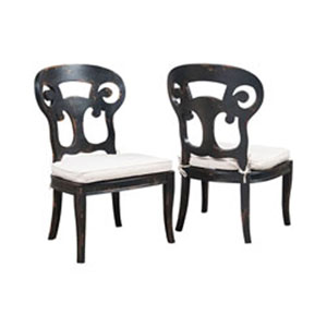 Verona Club Black Side Chairs With Linen Cushions - Set of 2