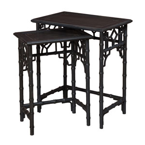 Global Bamboo Gray Nesting Tables- Set of 2