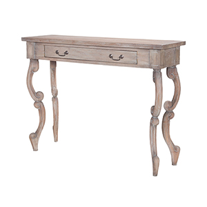 Carved Scroll Weathered Tuscan Entry Table
