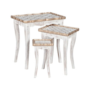 Saber Front Porch White Nesting Tables- Set of 3