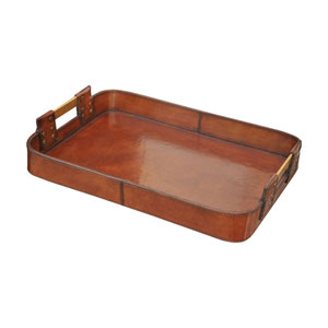 Brown Large Leather Tray With Brass Handles