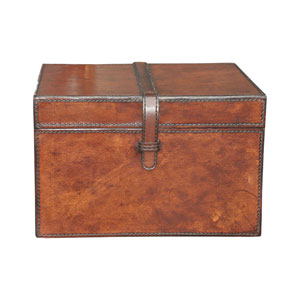 Brown Small Stitched Leather Box