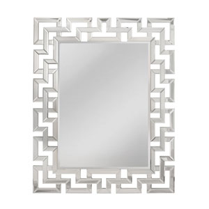 Greek Key Silver Rectangle Mirror
