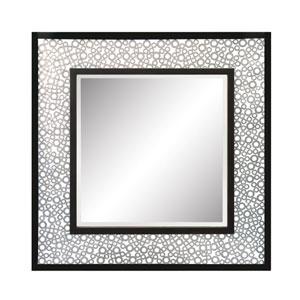 Kemmora Matte Black and Antique Silver Square Mirror