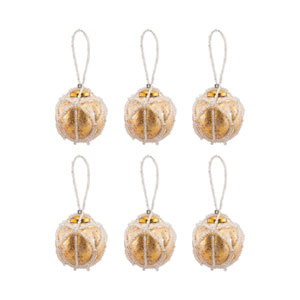 Beaded Gold Round Ornament