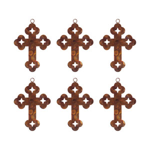 Cross Burned Copper Ornament