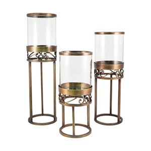 Tower Antique Brass Twenty Two-Inch Candle Holder