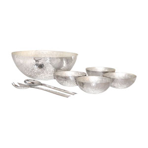 Reef Hammered Aluminum and Pearl Salad Set
