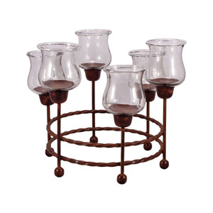 Rodeo Montana Rustic Round Candle Holder