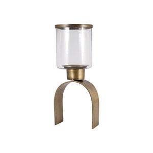 Modern Antique Brass Sixteen-Inch Candle Holder