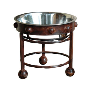 Mission Montana Rustic and Silver Pet Feeder