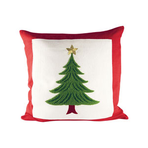 Evergreen Ribbon Red and Evergreen Throw Pillow