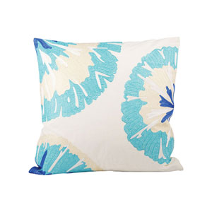 Pacifica Ivory and Cool Waters Throw Pillow