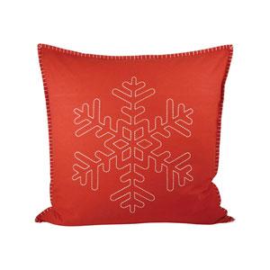 Snowridge Ribbon Red and Snow Throw Pillow
