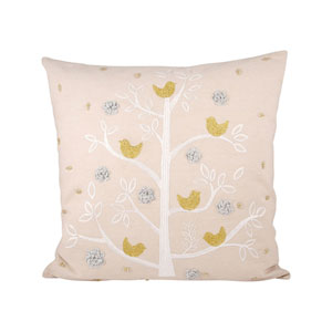 Holiday Sand and Silver Throw Pillow