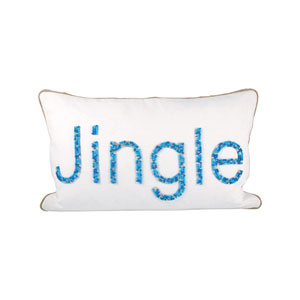 Jingle Crema and Malibu Blues Throw Pillow