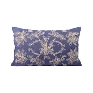 Dori Legion Blue and Crema Throw Pillow