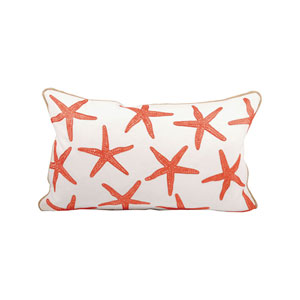 Chloe Coral and White Throw Pillow