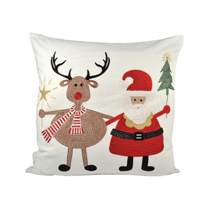 Santa And Friends Snow and Coco Throw Pillow