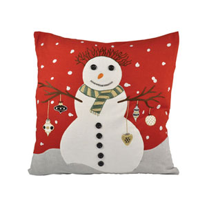 Snowman Ribbon Red and Snow Throw Pillow