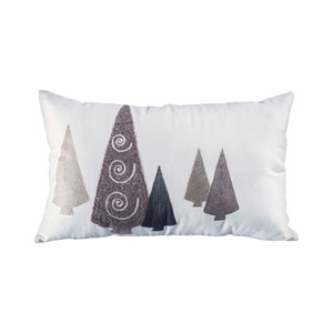 Modern Trees Snow and Chateau Graye Throw Pillow