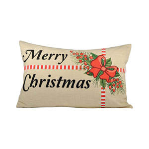 Holiday Package Sand, Black and Ribbon Red Throw Pillow