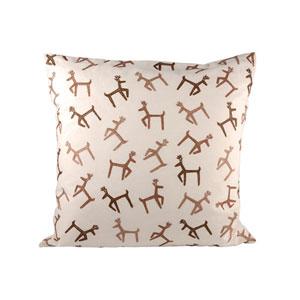 Dancing Reindeer Crema and Dark Earth Throw Pillow
