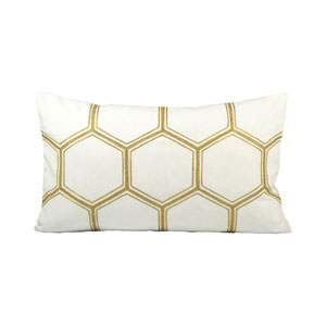 Hex Snow and Gold Throw Pillow