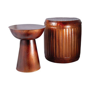 Truffle French Antique Copper Stool and Table Set