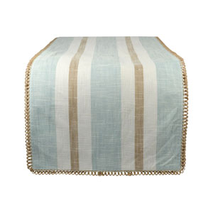 Carril Light Blue and White Table Runner
