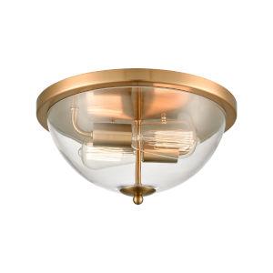 Astoria Satin Gold Two-Light Flush Mount
