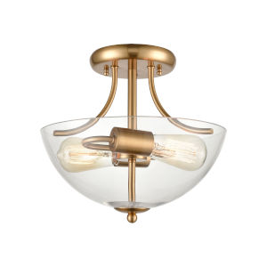 Astoria Satin Gold Two-Light Semi-Flush Mount