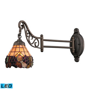 Shop wall mount reading lamps hardwired bellacor mix n match tiffany bronze 12 inch led one light swingarm lamp wall greentooth Images