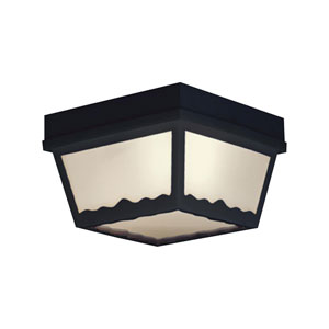 Essentials Black Eight-Inch Outdoor Flush Mount