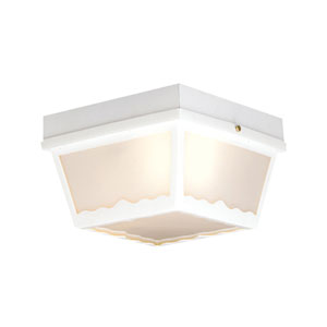 Essentials Matte White Two-Light Outdoor Flush Mount