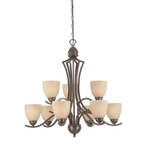 Triton Sable Bronze Nine-Light Chandelier