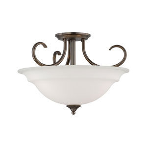 Bella Oiled Bronze Three-Light Semi Flush Mount
