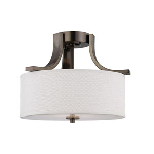 Pendenza Oiled Bronze Two-Light Semi Flush Mount