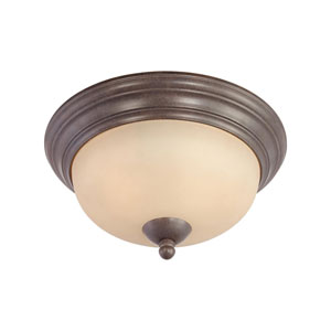 Triton Sable Bronze Two-Light Flush Mount