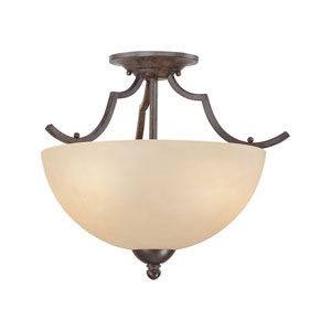 Triton Sable Bronze Two-Light Semi Flush Mount