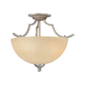 Triton Moonlight Silver Two-Light Semi Flush Mount