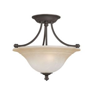 Harmony Aged Bronze Two-Light Semi Flush Mount