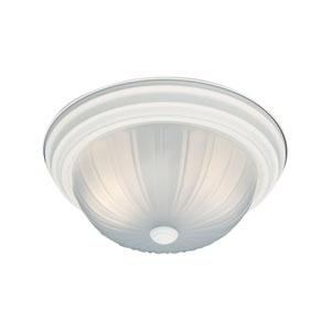 Essentials Textured White 13-Inch Two-Light Flush Mount