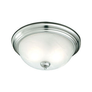 Essentials Brushed Nickel 11-Inch Flush Mount with Etched Alabaster Glass