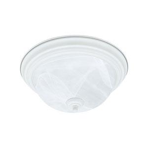 Essentials Textured White Two-Light Flush Mount